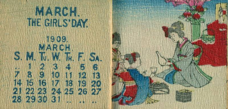 calendar for 1909  crepe paper  folded pages