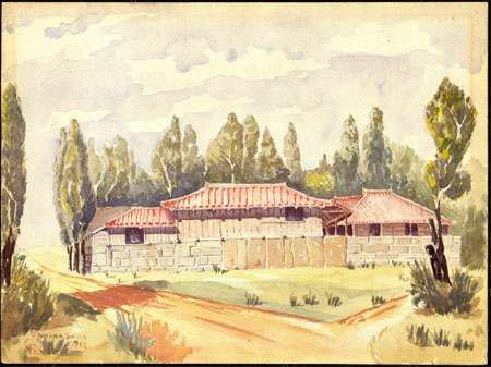 Watercolor Painting Okinawa Shima 1945